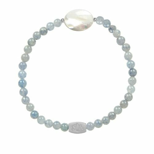 Mas Jewelz Blue Quartz bracelet with Mother of Pearl oval Silver