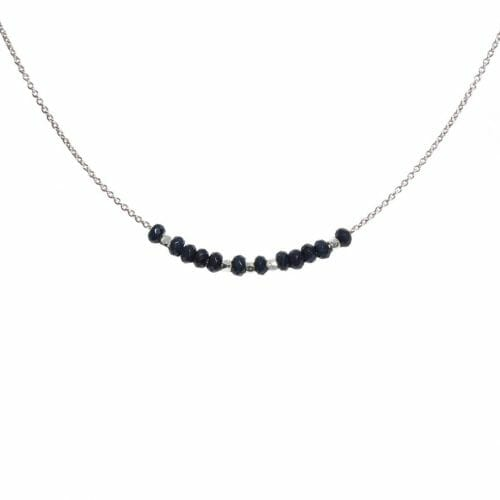 Mas Jewelz necklace 3/4 facet Blue Agate Silver