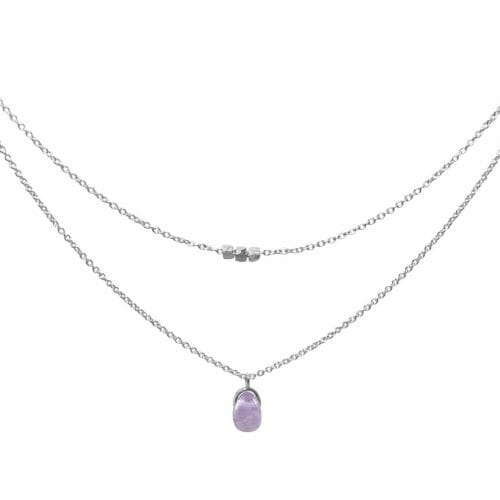 Mas Jewelz necklace Bail double Light Amethyst Silver