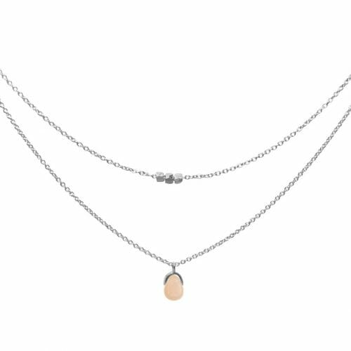 Mas Jewelz necklace Bail double Pink Opal Silver