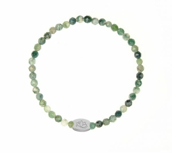 Mas Jewelz Special Facet Moss Agate Model 1 Silver