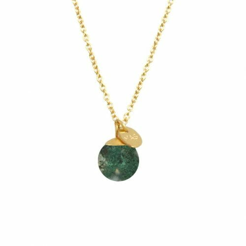 Mas Jewelz necklace Classic Moss Agate Gold