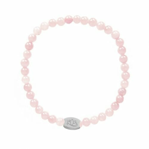 Mas Jewelz 4 mm Rose Quartz Model 1 Silver