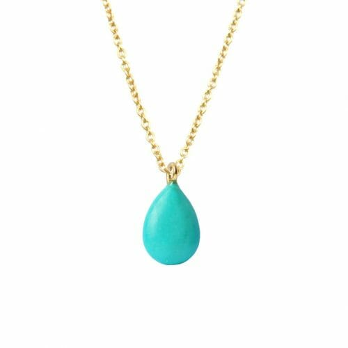 Mas Jewelz necklace long with Pendant Turquoise Gold