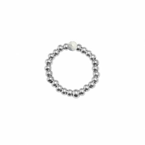 Mas Jewelz Ring 3 mm Howlite Model 2 Silver