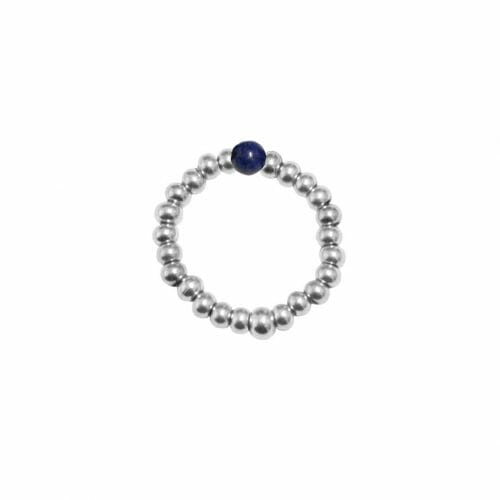 Mas Jewelz Ring 3 mm Lapis Lazuli Model 2 Silver