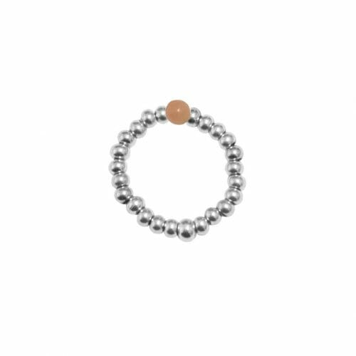 Mas Jewelz Ring 3 mm Pink Opal Model 2 Silver
